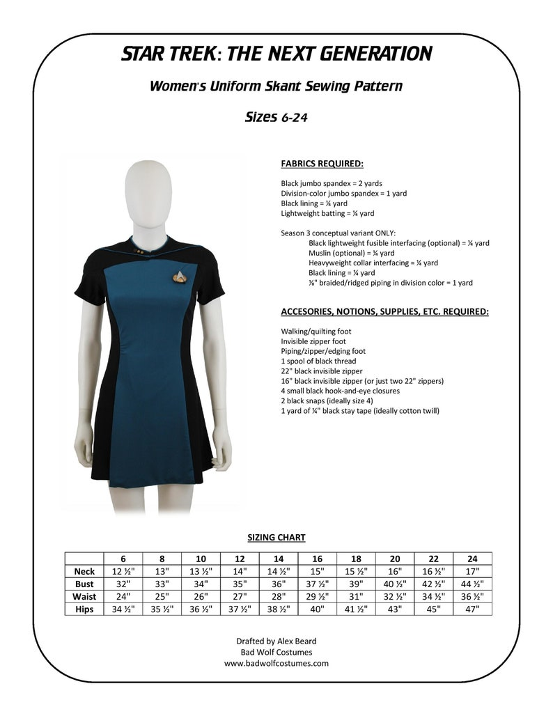 Star Trek Sewing Pattern  TNG Skant  The Next Generation image 0