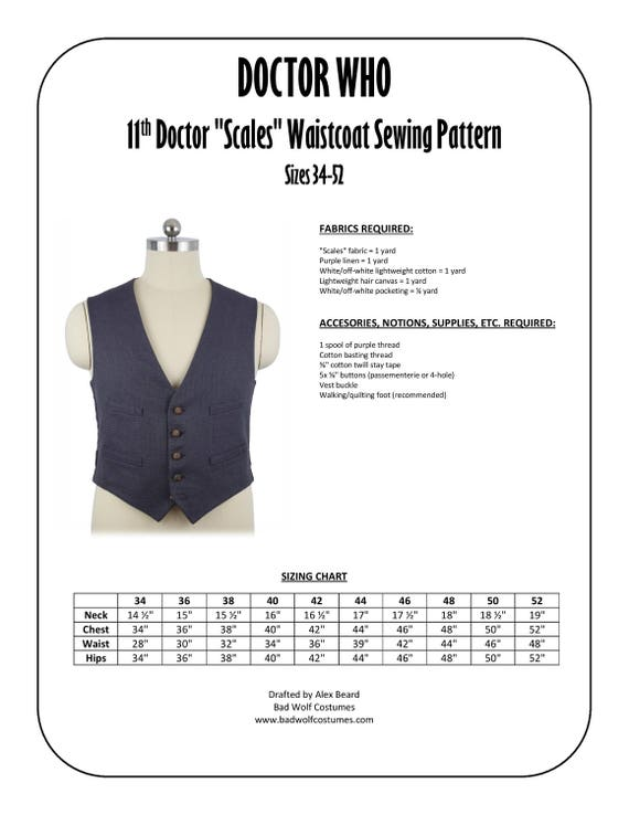 11th Doctor Scales Waistcoat Sewing Pattern | Etsy
