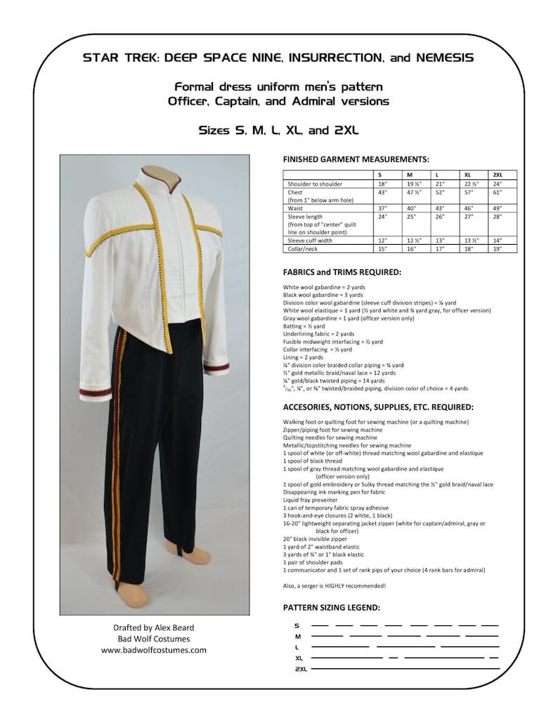 1221eb430b3cc Star Trek Sewing Pattern Starfleet formal uniform Deep   Etsy