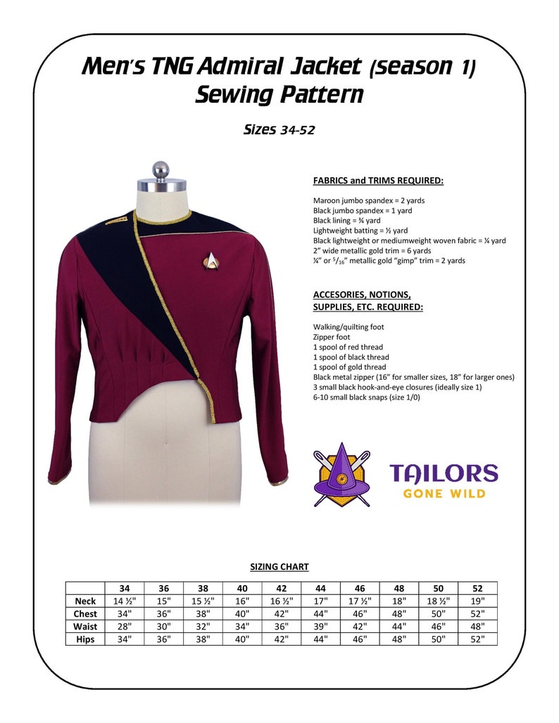 TNG Admiral Jacket season 1 Sewing Pattern image 1