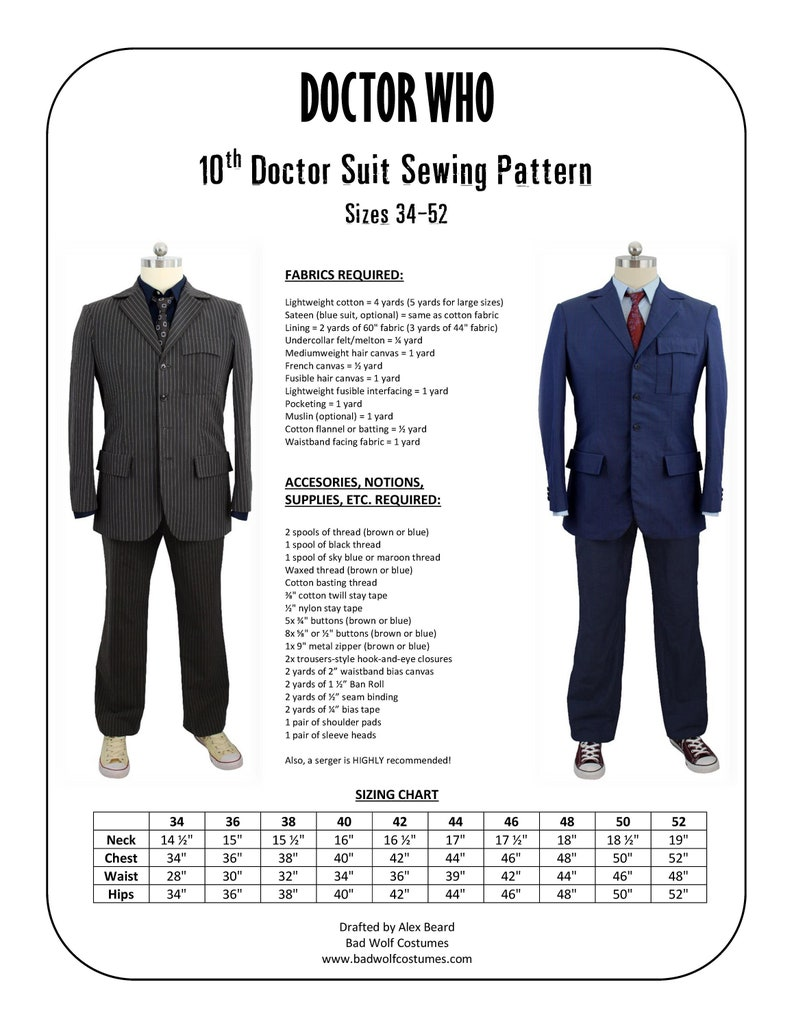 10th Doctor Suit Sewing Pattern  Doctor Who David Tennant image 0