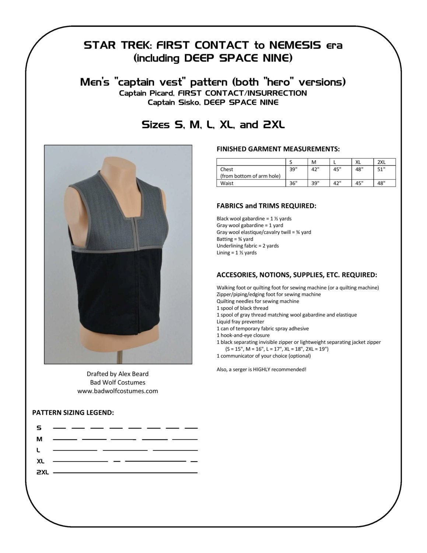 Star Trek Sewing Pattern - Starfleet uniform vest - Deep Space Nine ...