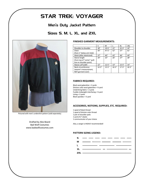 Star Trek Schnittmuster Sternenflotte einheitliche Jacke