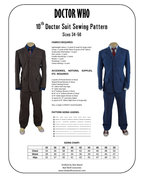 Arzt die 10. Arzt Anzug Schnittmuster