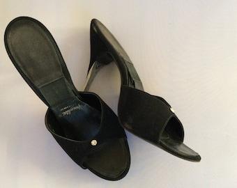 0ac1e9914e1 1950s black suede springolator stilettos with rhinestone   silver heels!!  sz 6.5 - 7