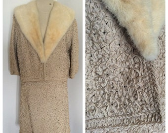 1960s ivory ribbon fabric skirt and jacket suit with fur collar – sz L
