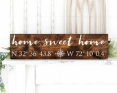 home sweet home longitude latitude sign GPS sign coordinates sign custom coordinates wedding shower gift GPS coordinates sign