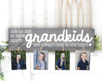 GRANDKIDS Photo Holder   Mimi & Papa Gift   Side by Side   Grandparent Gift   Personalized   Christmas Birthday Mother's Day Nana Mom