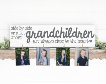 GRANCHILDREN wood Photo Holder   Mimi & Papa Gift   Side by Side   Grandparent Gift   Personalized   Christmas Birthday Mother's Day Nana