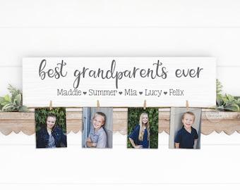 Best GRANDPARENTS Ever Wood Sign   Photo Holder   Grandparent Gift   Grandma Gift Personalized   Christmas Birthday Mother's Day Nana Mom