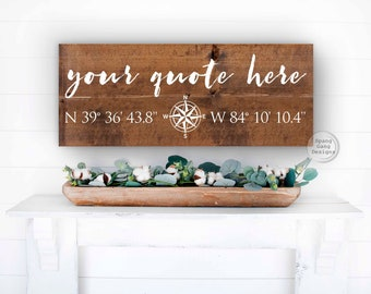 GPS coordinate Wood Sign   Personalized Wedding Gift   Engagement   Where it all began   Latitude Longitude Plaque   Gift for Her or Him