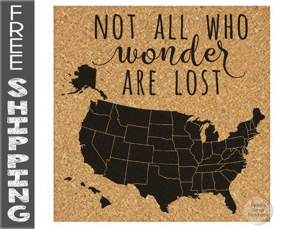 Push Pin Map Pinnable Cork Map Of The Usa United States Etsy
