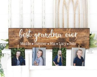 Best GRANDMA Ever Wood Sign   Photo Holder   Grandparent Gift   Mimi Gift Personalized   Christmas Birthday Mother's Day Nana Mom