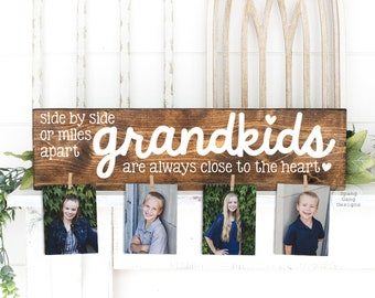GRANDKIDS Wood Photo Holder   Grandparent Gift   Mimi & Papa Gift  Personalized   Christmas Birthday Mother's Day Nana Mom