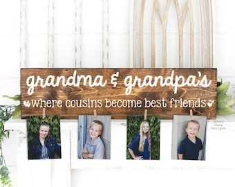 Where Cousins Become Best Friends Wood Sign   Grandma & Grandpa Gift   Personalized   Christmas Birthday Mother's Day Nana Mom