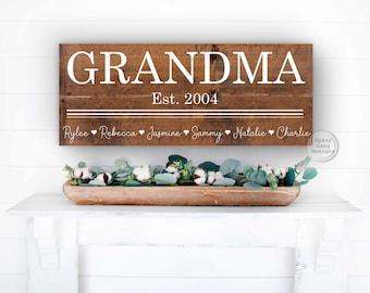 Grandma Est Sign   Grandma Gift   Nana Christmas Gift   Grandparents   Fathers Day   Mother's Day   Mimi Papa   Grammy Granny Gammy Pops