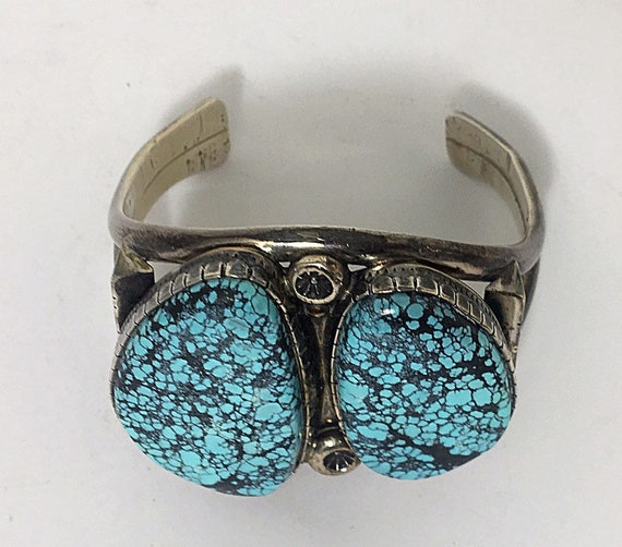 Sterling Silver And Spider Web Turquoise Cuff Brac