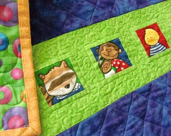Colorful Baby or Toddler Quilt, Animal Theme, Gender Neutral Shower Gift, Bright Primary Colors, Nap Mat, Travel Blanket, Blue Lime Red
