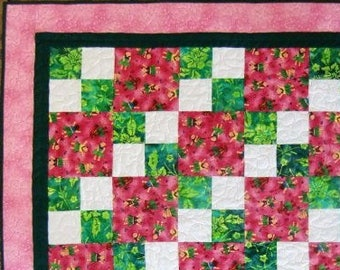 Hawaiian Patchwork Quilt, Baby Girl, Hula Babies, Shower Gift, For Her, Pink and Green, Nursery Decor, Beach Play Mat, FREE SHIPPING in U.S.