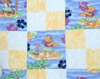 Baby Girl Quilt made from Hawaiian Winnie the Pooh fabric, Tropical Nursery Decor, Tigger Piglet Crib Blanket, Shower Gift, Tummy Play Mat