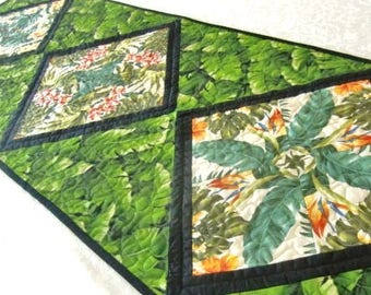 Hawaiian Quilted Table Runner, Tropical Floral Table Topper, Spring Flowers, Gift for Her, Green Pink Yellow Orange, St. Patricks Home décor