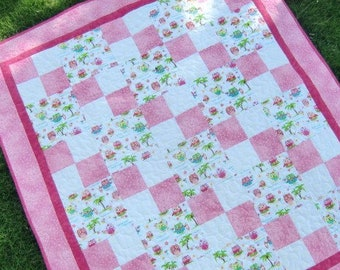 Baby Girl Quilt,  Hawaiian Patchwork, Hula Owls, Nursery Decor, Beach Blanket, Baby Shower Gift, Pink and White, Crib or Cot Bedding, OOAK
