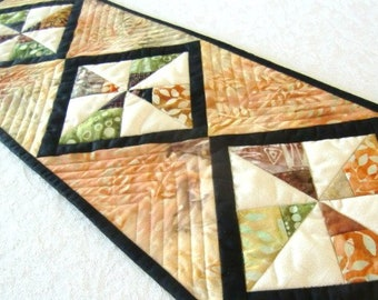 Quilted Batik Table Runner, Scrappy Pinwheel Topper, Small Table Runner, Home or RV decor, Housewarming Hostess Gift, 24 x 8, Warm Colors