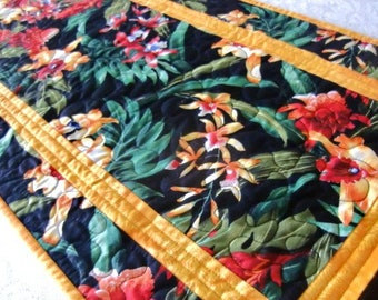 Hawaiian Floral Quilted Table Runner, Colorful Tropical Topper, Orchids and Ginger, Gift for Her Home, Mother's Day Gift, Housewarming, OOAK