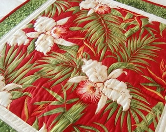 Quilted Tropical Table Topper, Orchids and Palms, Floral Decor, Birthday Gift,  Housewarming, For Her Home, Cottage Chic, OOAK, Handmade