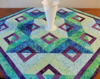 Blue Green Batik Table Topper, Small Lap Quilt, Gender Neutral Baby Blanket, Housewarming Gift, Spring Summer décor, OOAK Unique Handmade
