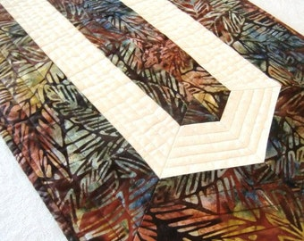 Quilted Batik Table Runner, Tropical Leaves Topper, Home décor, Gift for Her, Housewarming, Everyday Dining, Brown Gold and Cream, OOAK