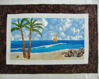 Landscape Seascape Art Quilt, Tropical Beach, Wall Hanging, Coastal Decor, Ocean Art, Palm Trees, Textile Fiber Art, Handmade, Gift Idea
