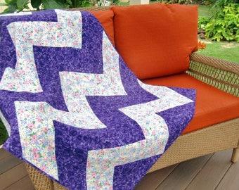 Modern Chevron Quilt, Purple Pink  Zig Zag Quilt, Floral Patchwork Throw, Gift for Her, Spring Flowers, Baby, Kid, Teen, Grad Gift, OOAK