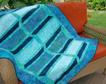 Modern Batik Lap Quilt, 3-D Sofa Throw, Wheelchair Quilt, Aqua Teal Blue, Gift for Her Home, Spring Summer,  Beach House Chic, OOAK Handmade