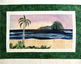 Tropical Beach Art Quilt, Landscape Seascape Quilt, Coastal Decor, Ocean Wall Hanging, Textile Fiber Art, OOAK, Gift Idea, Handmade in HI