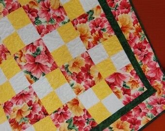 Hawaiian Baby Girl Quilt, Hibiscus Blanket, Tropical Flowers, Shower Gift, For Her, Pink and Yellow, Handmade OOAK Unique, FREE US Shipping