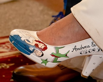Custom Wedding Shoes, Hand painted Bridal Shoes, Vintage Rockabilly wedding