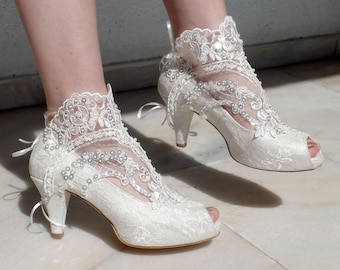Ivory Lace Bridal Boots with Pearls