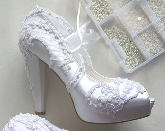 White Wedding Shoes for Bride with Pearls