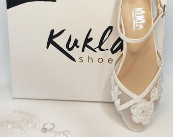 Floral Beaded Lace Wedding Flats