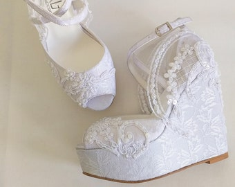 White Lace Wedding Wedge Sandals