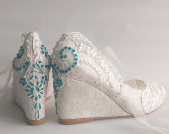 Lace Wedding Wedges with Teal Embellishment