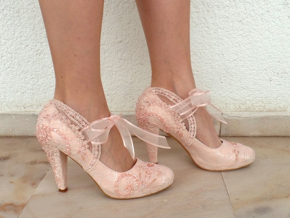 0ac7f181f633 Blush Lace Wedding Shoes with Pearls and Ribbons