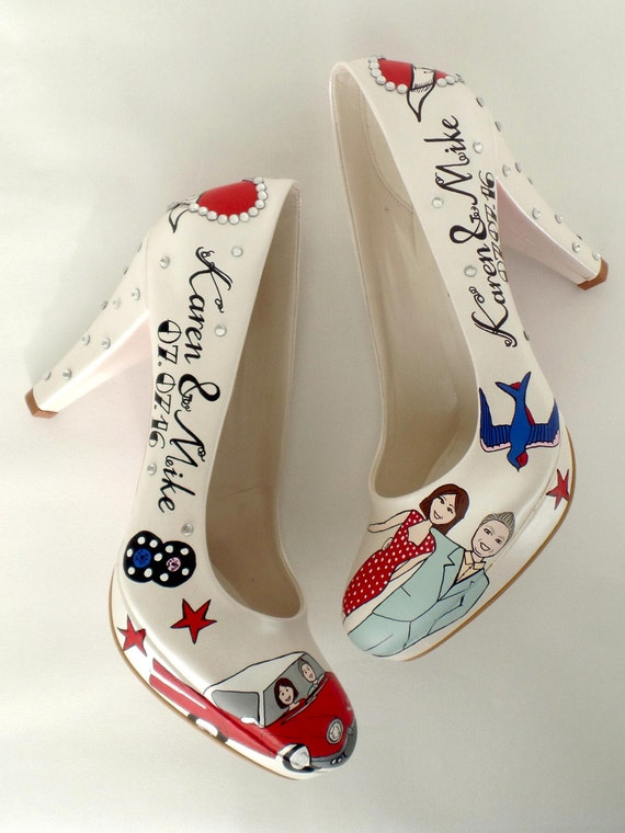 Custom Wedding Shoes, Hand painted Bridal Shoes, Vintage Rockabilly wedding