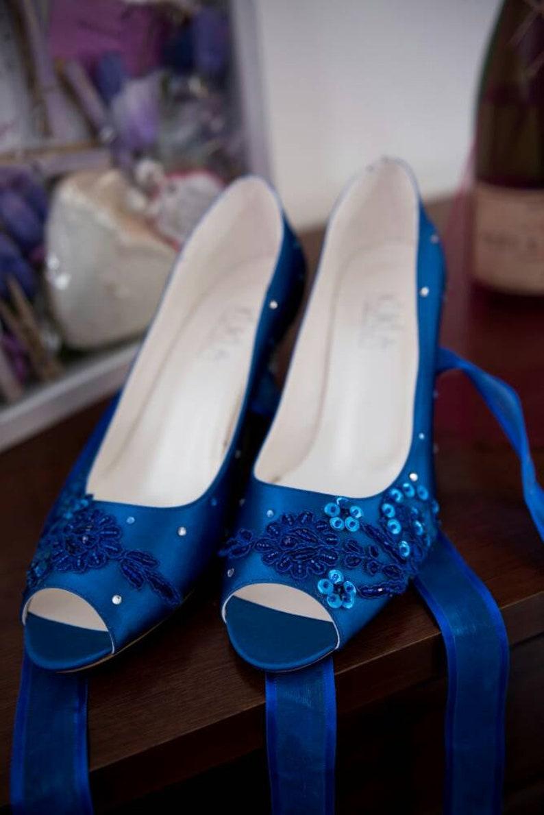 Classic Blue Wedding Shoes with Rhinestones