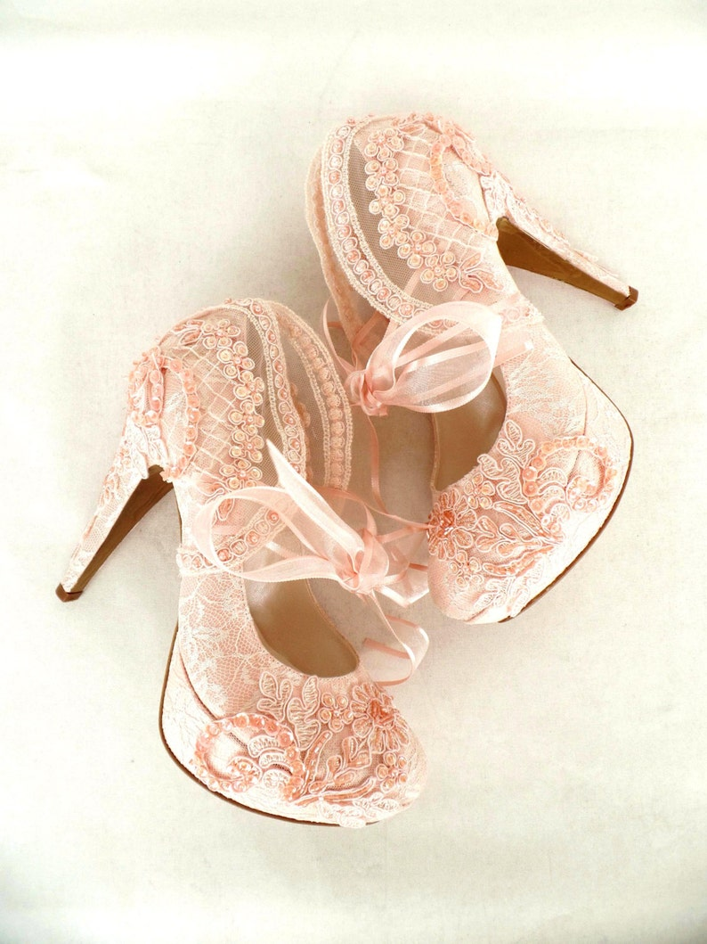 7d73a849841d Blush Lace Wedding Shoes for Bride with Pearls
