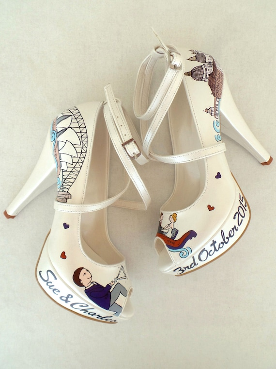 Personalized Shoes Bridal Handpainted Orange Wedding Shoes Purple f0ppgxAwq