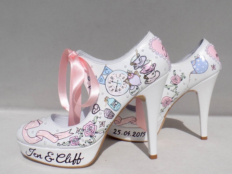 Wedding Shoes, Handpainted Custom Design Wedding Bridal Shoes, Tea Party Wedding Design 710290