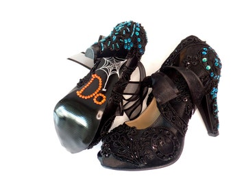 Black Teal Lace Wedding Shoes for Bride