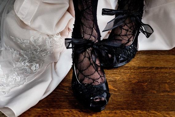 Embellished Lace Wedding Shoes Black